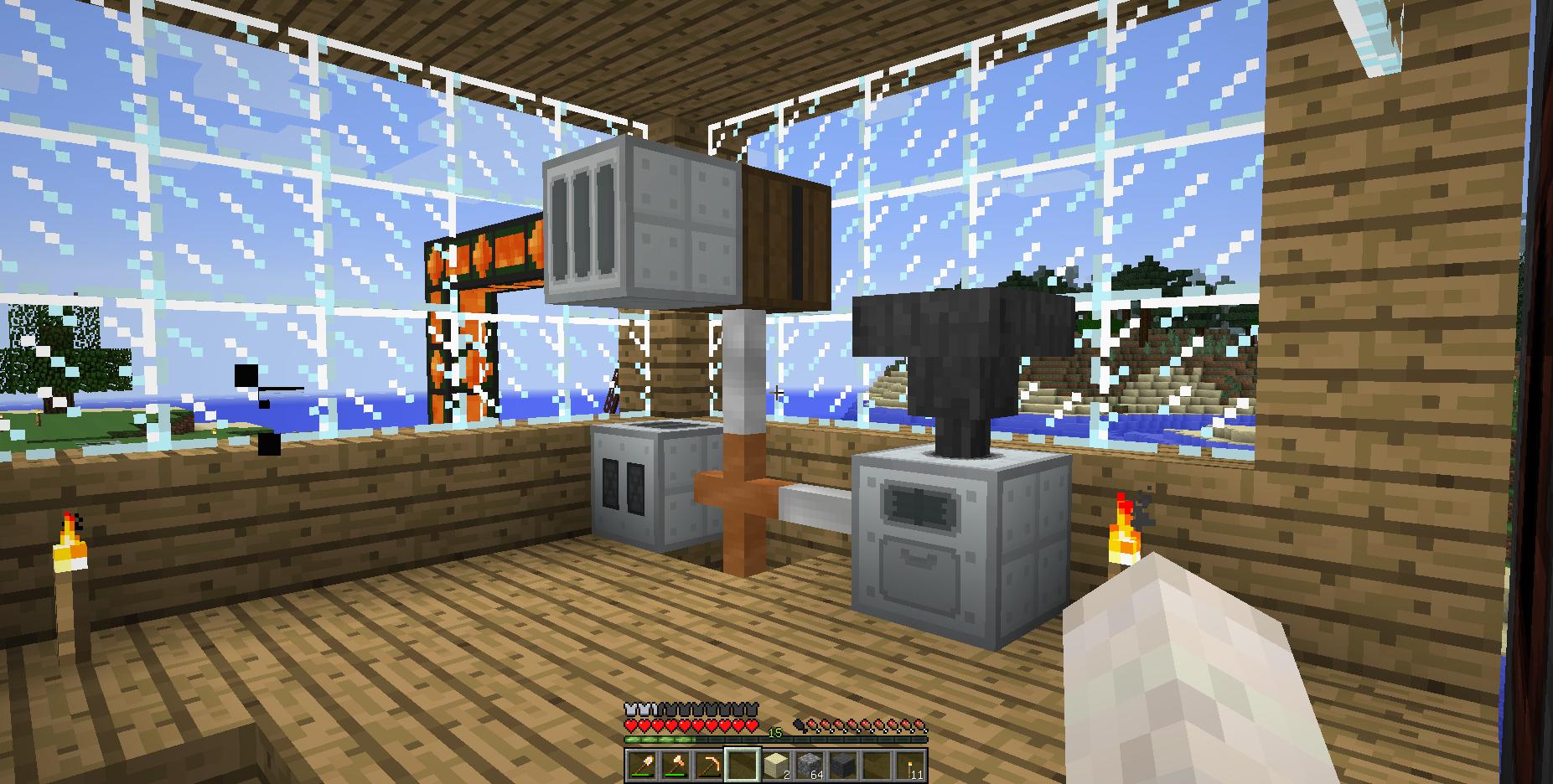 浮いているのが地熱発電機。奥に置いてあるのが金属加工機。金属かまどは1Fに置いてあるため、床を抜いて1Fに電線を伸ばしている
