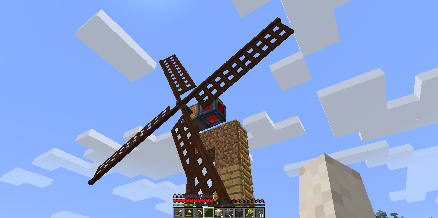 Immersive EngineeringのRF発電機である風車。設置した高度に応じて発電量が変わる。